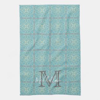 Fleur-de-lis Old World Vintage Tile Kitchen Towel