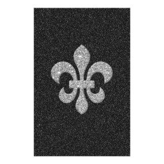 fleur-de-lis on black white glittery effect stationery