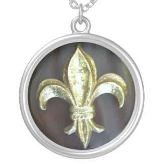 Fleur de lis on Brown Silver Plated Necklace