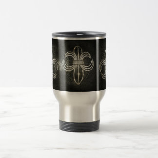 Fleur de lis on Leather Mug