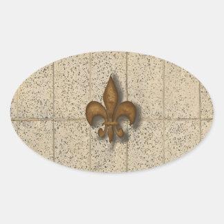 Fleur de Lis on Stone Oval Sticker