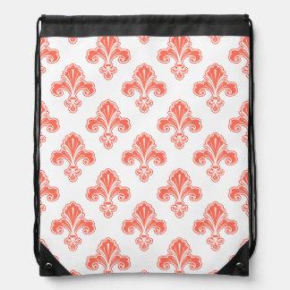 Fleur-De-lis, orange et blanc de corail Sac Avec Cordons