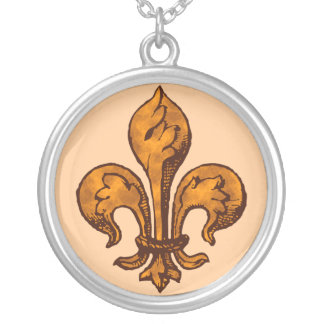 Fleur de lis Orange Goth Silver Plated Necklace
