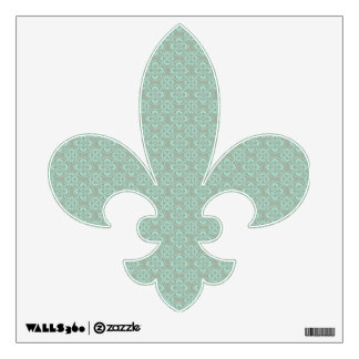Fleur De Lis Pattern - Bright Mint and Khaki Wall Decal