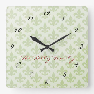 Fleur de Lis Pattern Editable Wall Clock