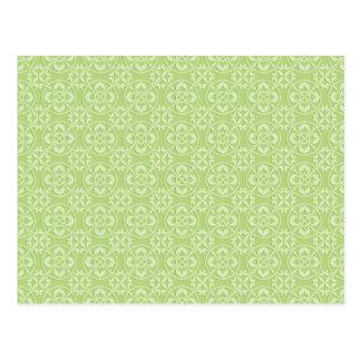 Fleur De Lis Pattern in Apple Green Postcard