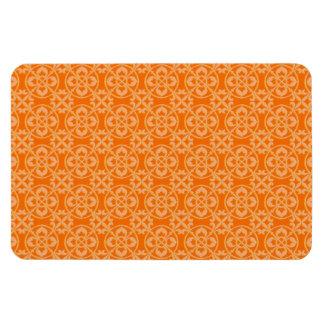 Fleur De Lis Pattern in Orange Rectangular Photo Magnet