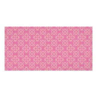 Fleur De Lis Pattern in Pink Photo Card