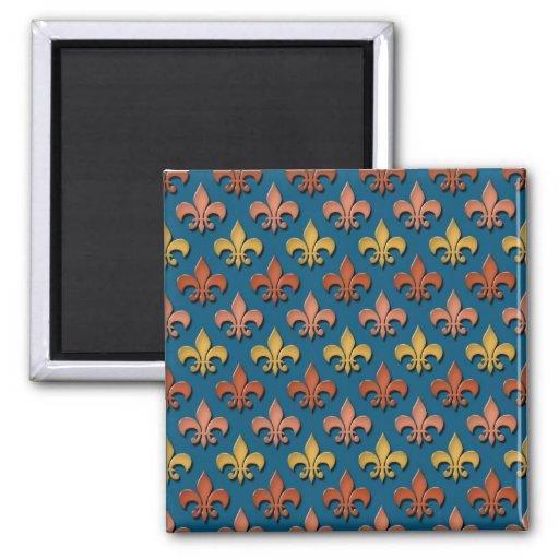 Fleur de lis Pattern Fridge Magnets