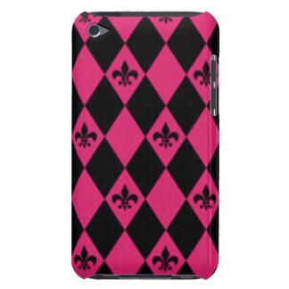 Fleur De Lis & Pink Black Diamond Pattern iPod Case-Mate Case
