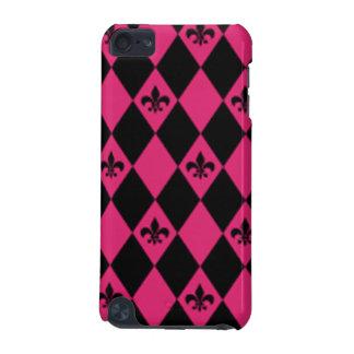 Fleur De Lis & Pink Black Diamond Pattern iPod Touch (5th Generation) Case