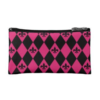 Fleur De Lis & Pink Black Diamond Pattern Makeup Bag