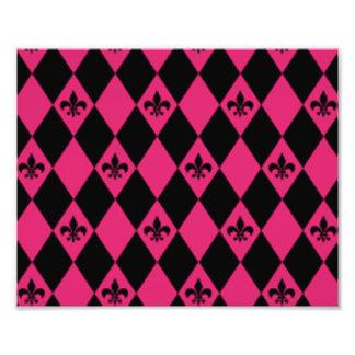 Fleur De Lis & Pink Black Diamond Pattern Photo Print