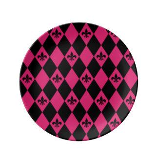 Fleur De Lis & Pink Black Diamond Pattern Plate