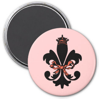 Fleur de lis Queen with bow 3 Inch Round Magnet