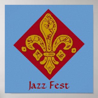 Fleur De Lis Red, Jazz Fest Poster