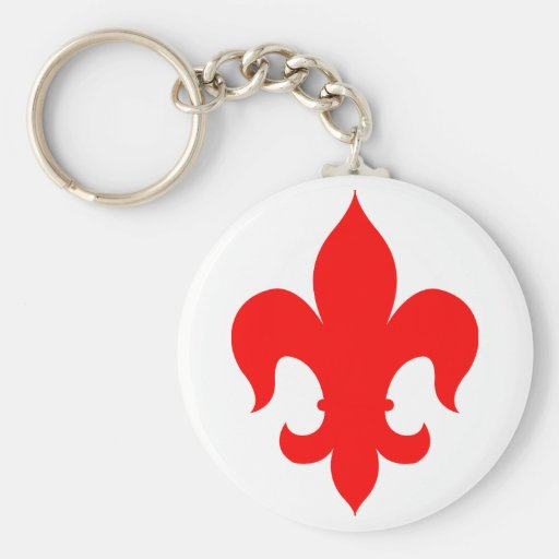 Fleur De Lis - Red - Solid Keychains