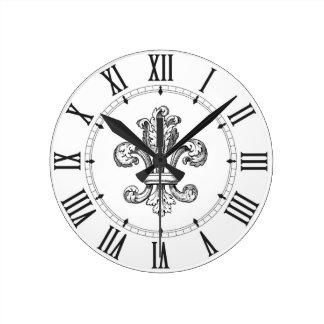 Fleur de Lis Roman Numerals Round Clock
