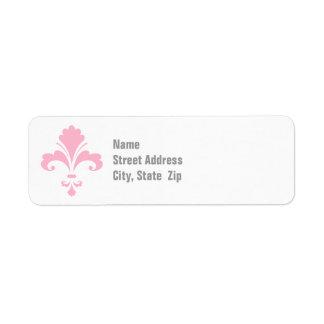 Fleur-De-lis rose-clair Étiquettes D'adresse Retour