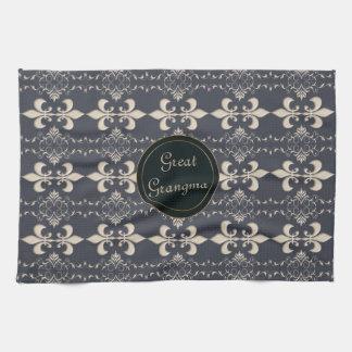 Fleur de Lis, royal seamles pattern. text. Kitchen Towel