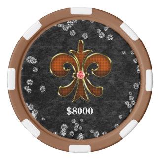 Fleur de lis Russet Clay Poker Chip Striped Edge