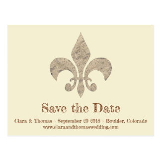 Fleur de lis Save the Date Simple Elegant Wedding Postcard