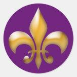 Fleur de Lis Stickers in Purple and Gold