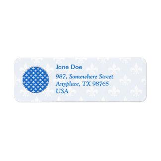 Fleur-De-lis sur le bleu Étiquettes D'adresse Retour