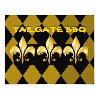 """Fleur de Lis, tailgate bar b q 4.25"""" X 5.5"""" Invitation Card"""