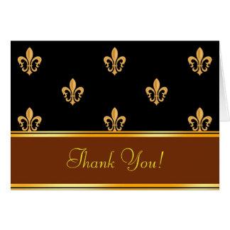 Fleur-de-lis Thank You Note Card Gold Black 5.6x4