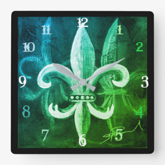 Fleur De Lis Time Square Wall Clock