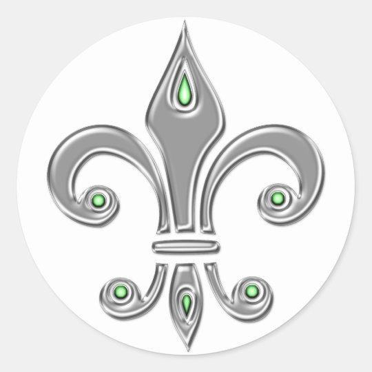 Fleur de Lis, Trinity symbol, lily, iris Classic Round Sticker
