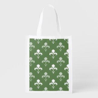Fleur-De-lis vert et blanc Sacs D'épicerie Réutilisables