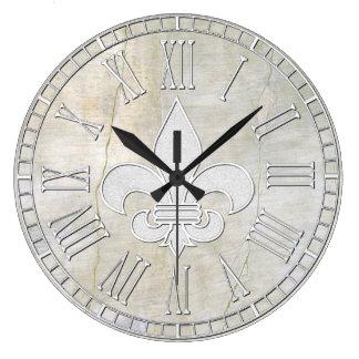 Fleur-de-lis Vintage Plaster Look Large Clock