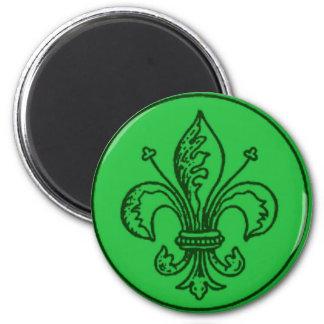 FLEUR DE LIS VINTAGE PRINT in Green 2 Inch Round Magnet