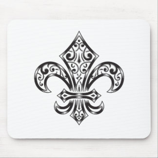 Fleur de Lis Vintage Scroll Mouse Pad Black/White