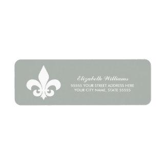 Fleur-de-lis  White Grey Return Address Labels