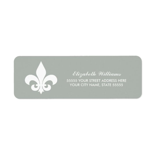 Fleur-de-lis  White Grey Return Address Labels
