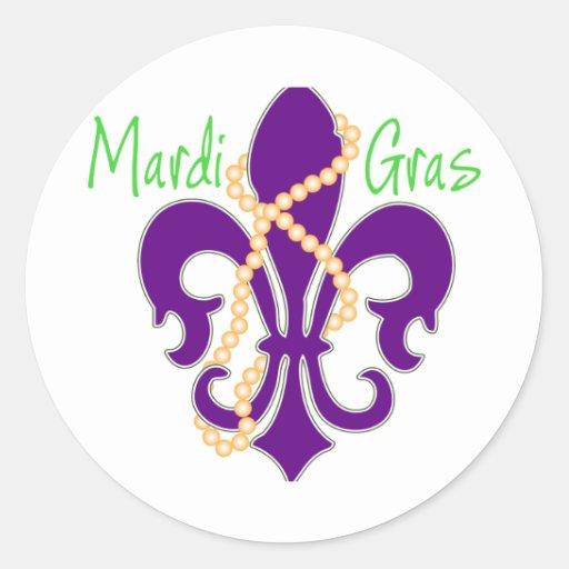 Fleur De Lis with beads Classic Round Sticker