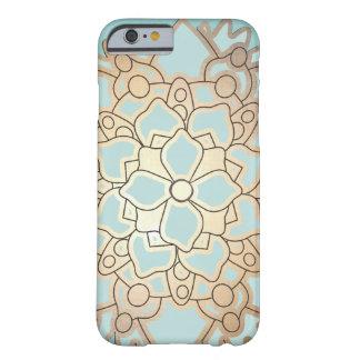 Fleur de Lotus de feuille d or de bleu et de Faux Coque iPhone 6 Slim