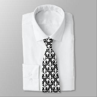 Fleur de Lys Black and White Elegant Tie