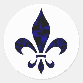 Fleur De Lys Blue Classic Round Sticker