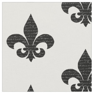Fleur de lys fabric french typography