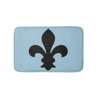 Fleur de Lys French Symbol Black Blue Custom color Bath Mat