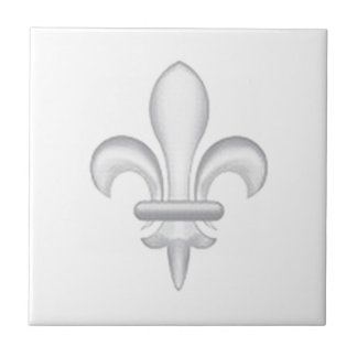 Fleur-de-lys light grey tile