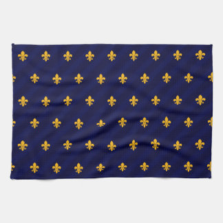 Fleur de Lys Orange-Blue Kitchen Towel