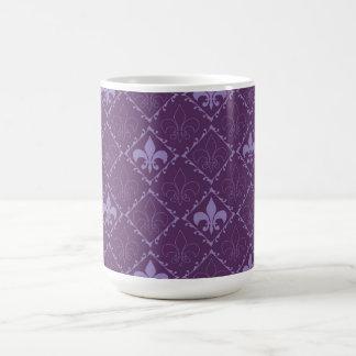 Fleur de lys pattern purple stylish, elegant mug