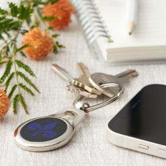 Fleur-de-lys Silver-Colored Oval Keychain