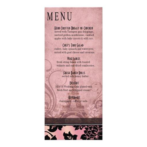 Fleur de Paris Eiffel Tower Dinner Menu   pink Personalized Invites