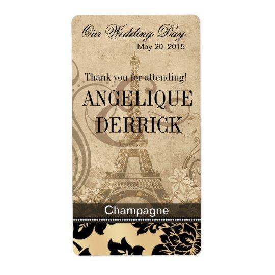 Fleur de Paris Eiffel Tower | sand Wine Label Shipping Label
